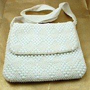 Beautiful Vintage White Bead  Purse Handbag Hong Kong
