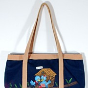 Vintage Bluebird Navy Blue Tan Shoulder Handbag Tote Purse