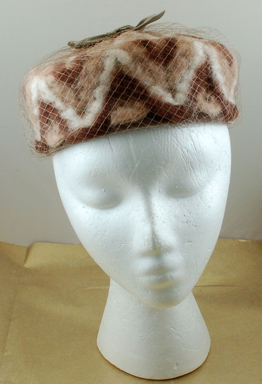 Vintage Brown Creamy White Wool Pillbox Pill Hat Netting