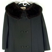 Stunning Vintage Black Wool Jacket Coat with Black Fur Mink Collar