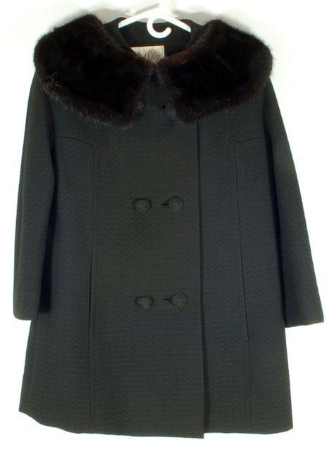 Stunning Vintage Black Wool Jacket Coat with Black Fur Mink Collar