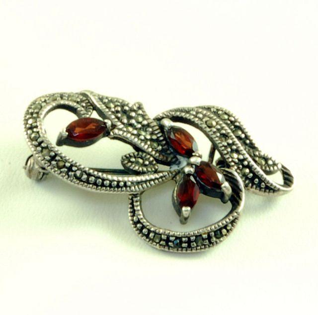 Elegant Vintage Rhinestone Marcasite 925 Silver Brooch Pin