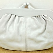 Vintage Grey Leather Clutch Purse Handbag Italy