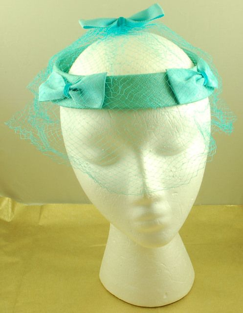 Vintage Blue Aqua Cocktail Hat with Bows and Netting