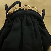 Wonderful Vintage J.R. Black Faille Purse Handbag