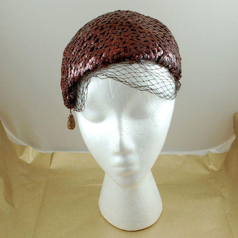 Vintage Brown Sequin Scharf Hat Netting