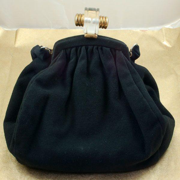 Vintage Black Wool Purse Handbag