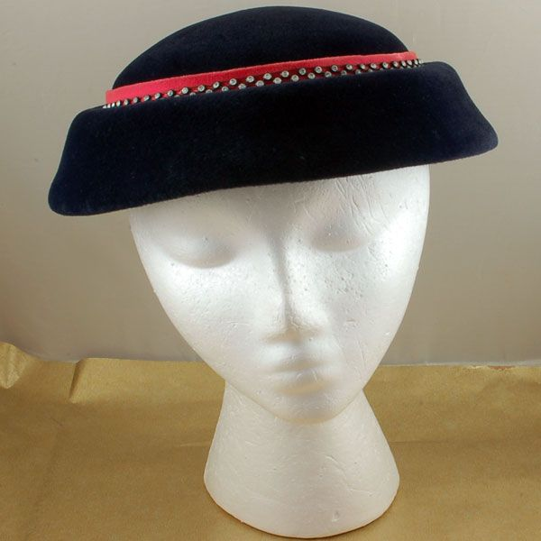 Fantastic Vintage Blue Pink Velour Hat