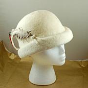 Vintage Jacki Creamy White Hat Feathers Italy