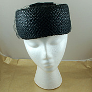 Vintage Black Pill Box Pillbox Hat with Netting Bows