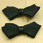 Vintage Black Bow Shoe Clips