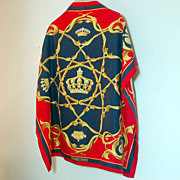 Authentic Hermes Silk Scarf Crowns Couronnes Navy Red Gold