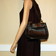 Vintage Black Leather Coach Shoulder Bag Handbag