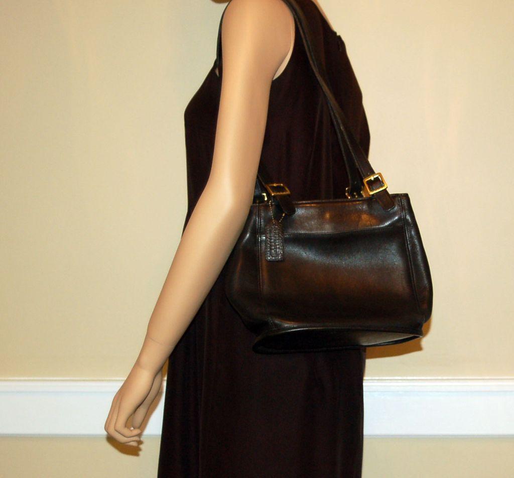 Vintage Black Leather Coach Shoulder Bag Handbag