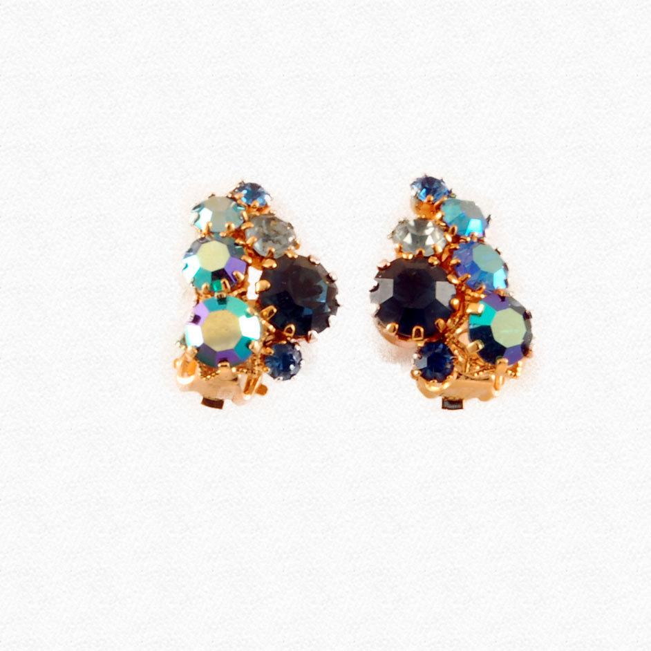 Vintage Blue Aurora Borealis Rhinestone Austria Earrings