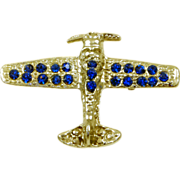 Vintage Blue Rhinestone Airplane Pin Brooch