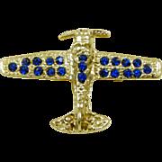 Vintage Blue Rhinestone Airplane Pin Brooch