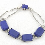 Beautiful Vintage Art Deco Blue Glass Link Bracelet