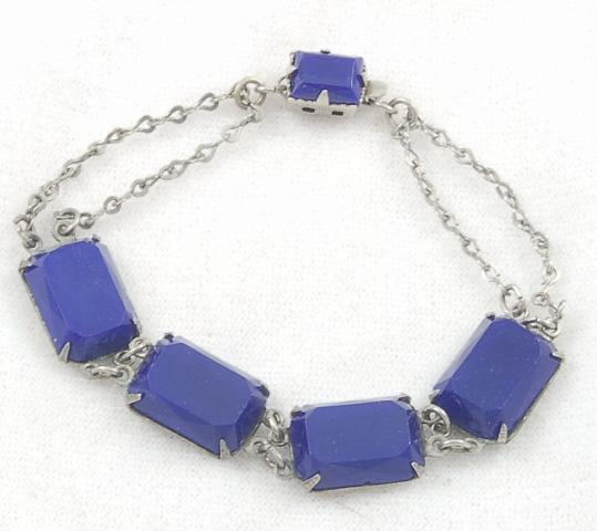 Beautiful Vintage Art Deco Blue Glass Link Bracelet
