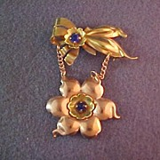 Two tone Rose and Yellow Gold Filled Retro Chatelaine Brooch