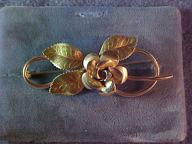 Vintage Large Krementz Rose Brooch