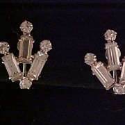 Kramer Baguette and Round Rhinestone Earrings Mint and Carded