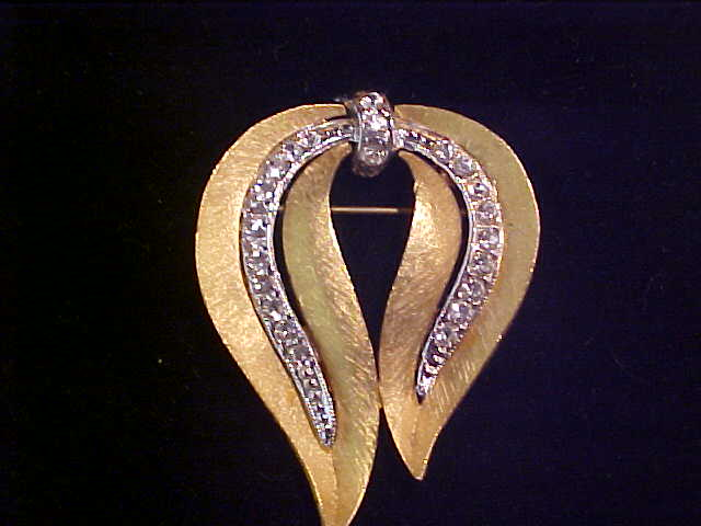 Unused JJ Jonette Two Tone Rhinestone Pin Brooch