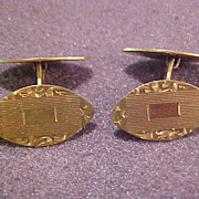 Vintage Engraved Cuff Links Unused on Card