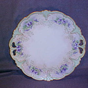 Handpainted Porcelain Pierced Handle Serving Plate