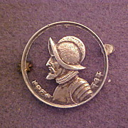 Panama Cut Coin Pin .900 Silver