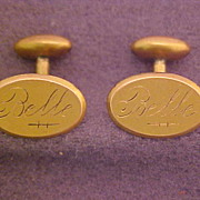 Vintage Gold Tone Cuff Links Hand Engraved Belle