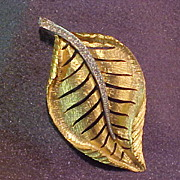 Gold Tone Florentine Leaf Pin Brooch with Rhinestones