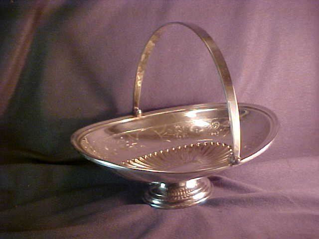Victorian Silver Plate Oval Footed Basket with Handle