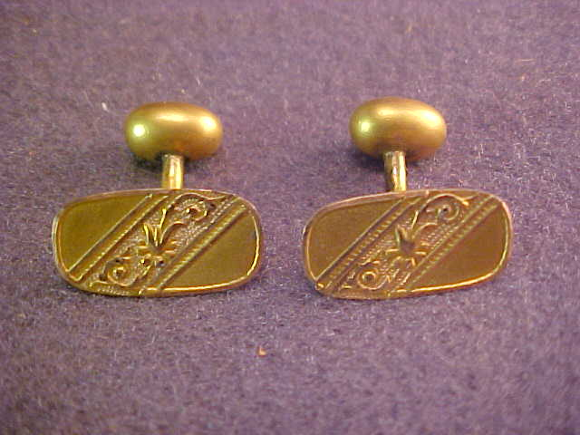 Vintage Yellow Patterned Cufflinks Barbell Style 1900-1920 Mint and Unused