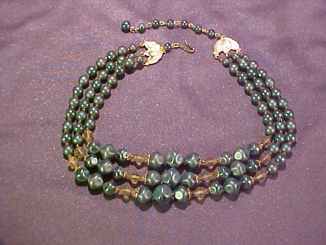 Triple Strand Teal Green Bead Necklace Japan