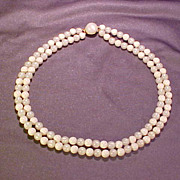 White and Moonglow Double Strand Bead Necklace