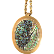 Gold Filled Large Abalone Pendant with Chain by Richards