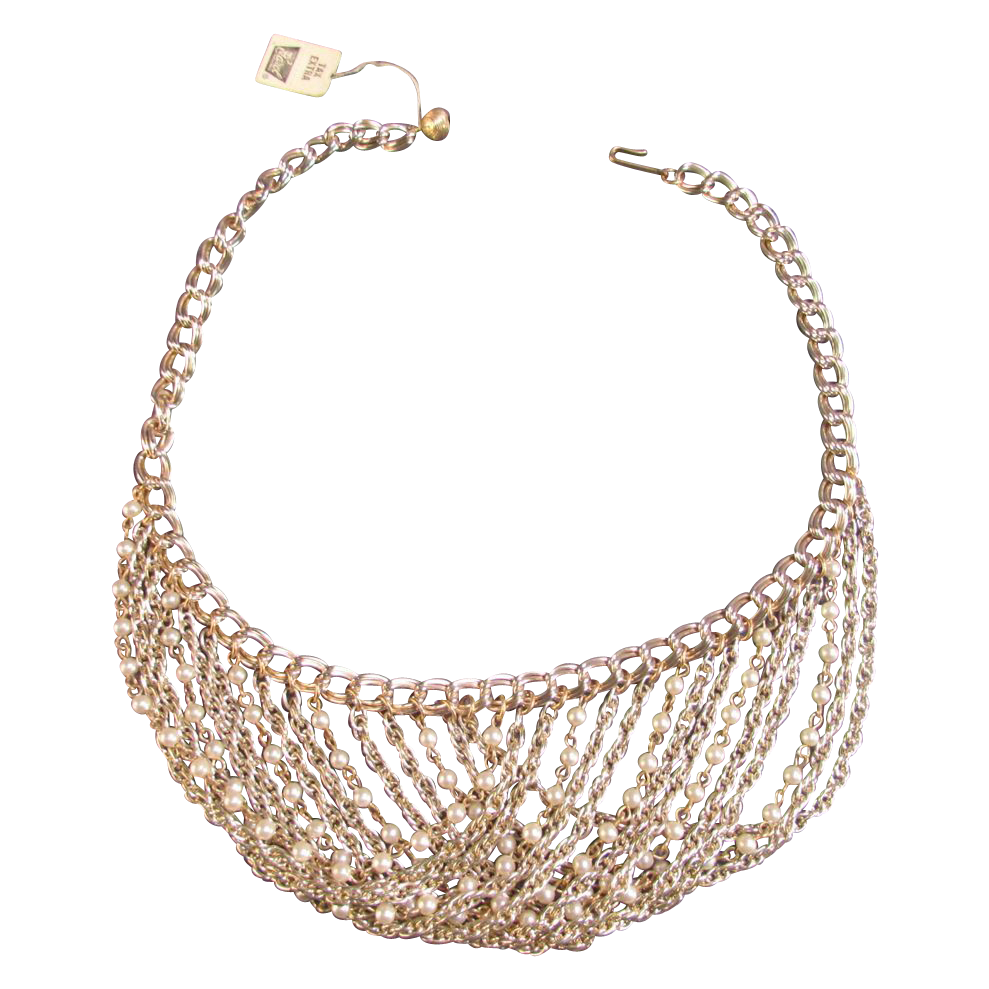 Carol Creations Draped Bib Necklace Goldtone Simulated Pearls