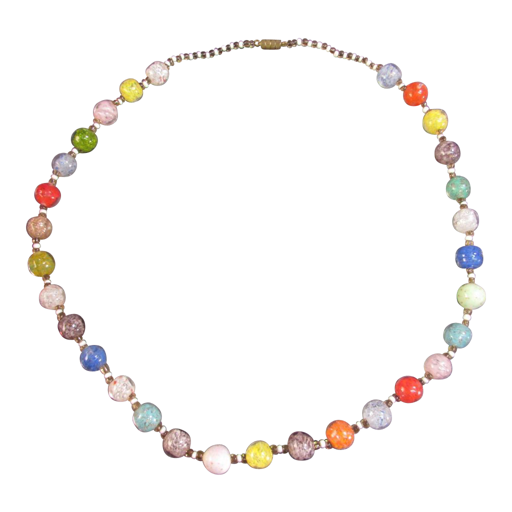 1960s Vintage Glass Crackle Bead Necklace