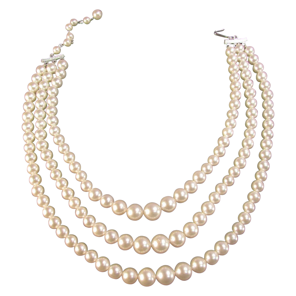 Triple Strand Japanese Simulated Pearl Necklace