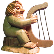 Anri Woodcarving Harp Player Little Folks of the Salvans