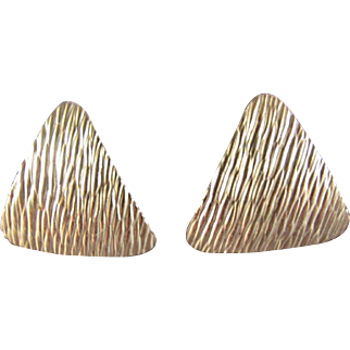 Krementz Gold Tone Triangular Earrings