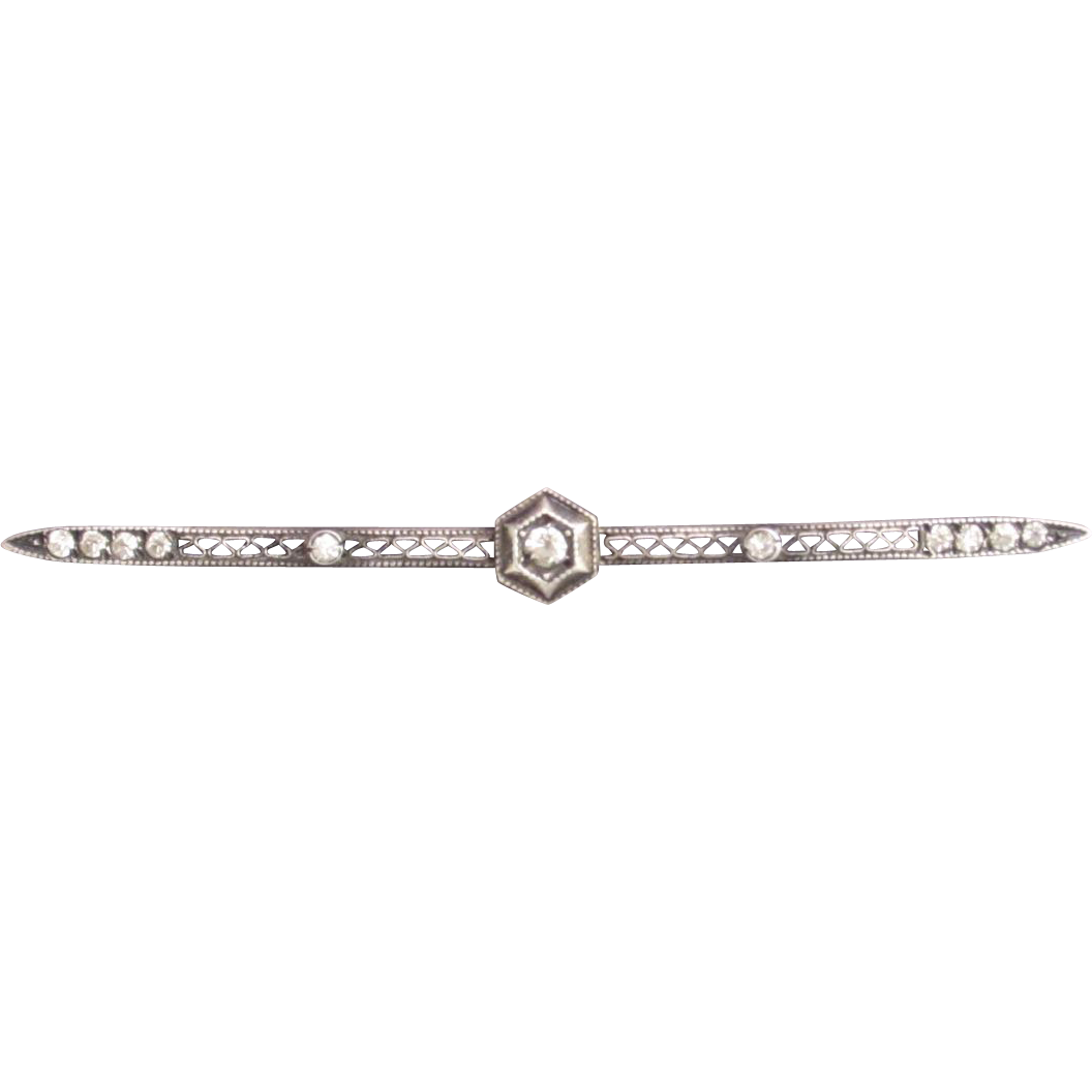 Vintage Sterling Silver Filigree Bar Pin with Rhinestones