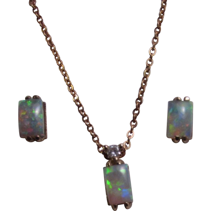 Colorful Rectangular Cut Opal Necklace and Earrings in 14 Karat Gold Diamond