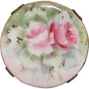 Hand Painted Porcelain Pin with Roses