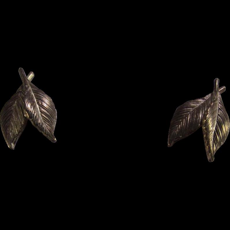 14 Karat Gold Leaf Earrings by Krementz