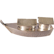 Japanese Boat Salt and Pepper Set 950 Silver
