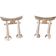 Torii Gate Sterling Silver Japanese Salt and Pepper Shakers