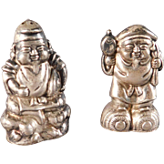 Japanese Salt and Pepper Shakers Ebisu and Daikokuten Figures Gods of Fortune