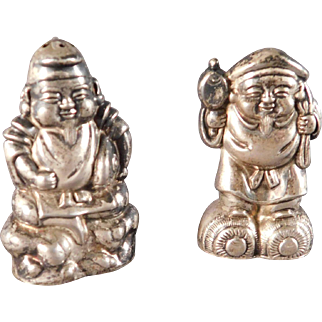 Japanese Salt and Pepper Shakers Ebisu and Daikokuten Figures Gods of Fortune